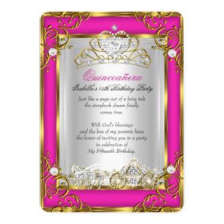 15. Geburtstags-rosa Gold Prinzessin-Quinceanera 12,7 X 17,8 Cm Einladungskarte