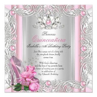 15. Geburtstags-rosa Rose Prinzessin-Quinceanera Quadratische 13,3 Cm Einladungskarte