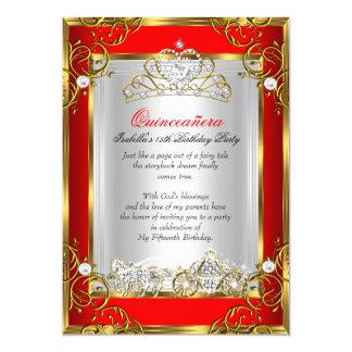 15. Geburtstags-Rot Prinzessin-Quinceanera 12,7 X 17,8 Cm Einladungskarte