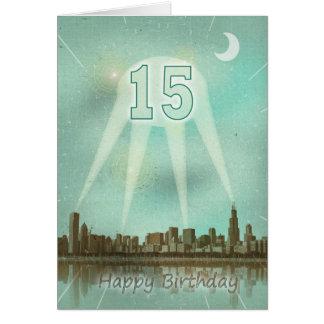 15. Geburtstagskarte mit einer Stadt und Karte