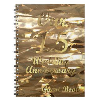 15. Hochzeitstag-Gast-Buch-Gold elegant Spiral Notizblock