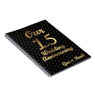 15. Hochzeitstag-Gast-Buch-Schwarz-Gold Notizblock