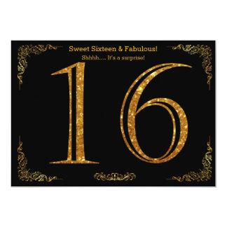 16., 16. Geburtstag, Geburtstags-Party, schwarzer 12,7 X 17,8 Cm Einladungskarte