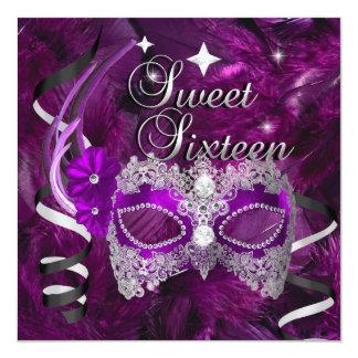 16. Geburtstag 16 Geburtstags-lila Diamant-Maske Quadratische 13,3 Cm Einladungskarte