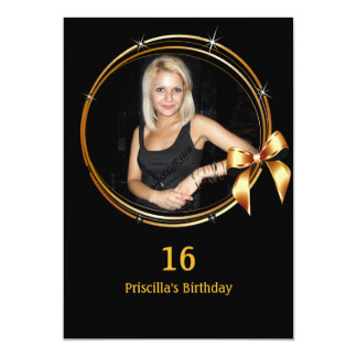 16. Geburtstag-Geburtstag 16., Einladung, schwarz Karte
