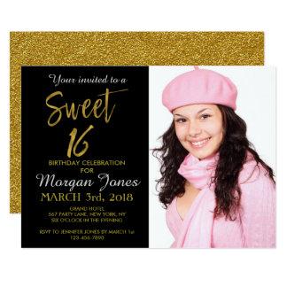 16. Geburtstag-Goldfolien-Geburtstags-Einladung Karte