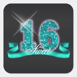 16. Geburtstag-Schein aquamarines ID120 Quadratischer Aufkleber