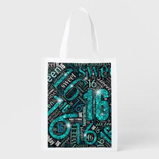 16. Geburtstag-Schein-Wort-Wolke aquamarines ID265 Wiederverwendbare Einkaufstasche