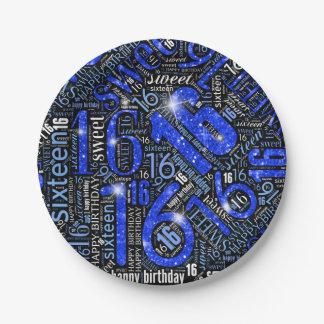 16. Geburtstag-Schein-Wort-Wolke blaues ID265 Pappteller