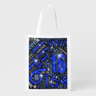 16. Geburtstag-Schein-Wort-Wolke blaues ID265 Wiederverwendbare Einkaufstasche