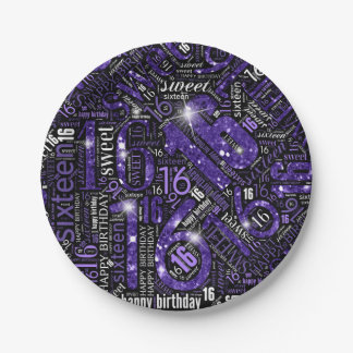 16. Geburtstag-Schein-Wort-Wolke lila ID265 Pappteller