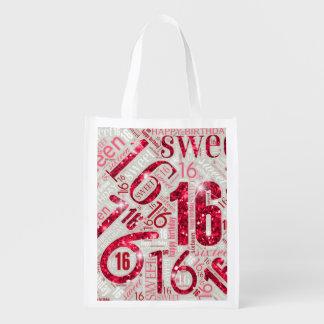 16. Geburtstag-Schein-Wort-Wolke rotes ID265 Wiederverwendbare Einkaufstasche