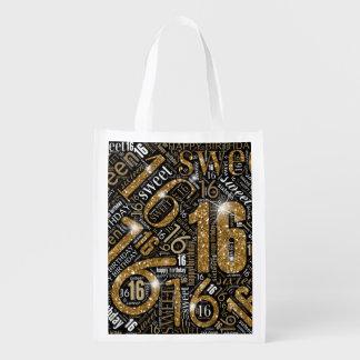 16. Geburtstag-Schein-Wort-Wolken-Gold ID265 Wiederverwendbare Einkaufstasche