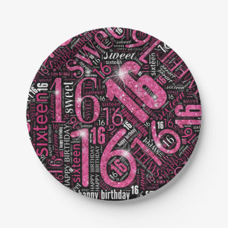 16. Geburtstag-Schein-Wort-Wolken-Rosa ID265 Pappteller