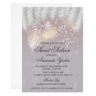 16. Geburtstag-Winter-Schneeflocke-Einladung Karte