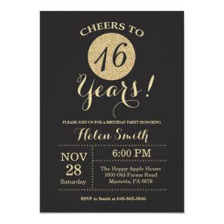 16. Geburtstags-Einladungs-Schwarzes und Karte
