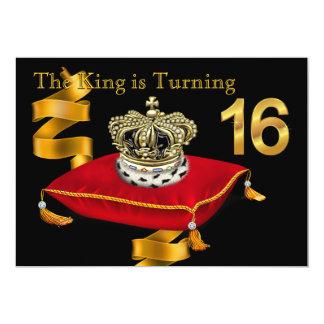 16. Geburtstags-Party König-Theme Karte