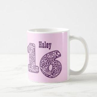 16. Geburtstags-ROSA LILA Spitze nummeriert V28 Kaffeetasse