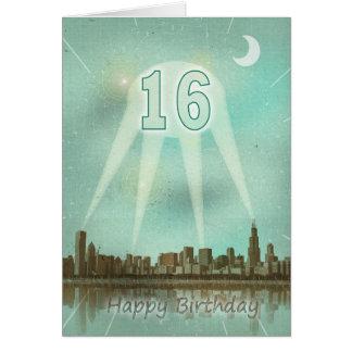 16. Geburtstagskarte mit einer Stadt und Karte