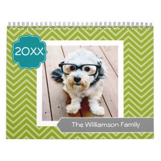 17 Foto-Familien-Schablone und bunte Muster Abreißkalender