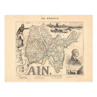 1858 Karte der Ain Abteilung, Frankreich