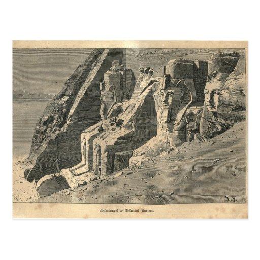 1877 Druck-Ägypten-Statuen, die Erde und seine Leu Postkarte