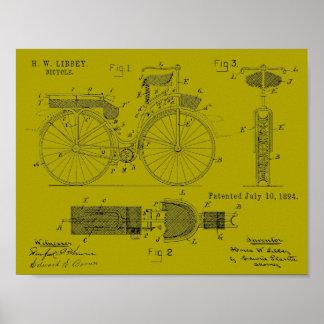 1894 Militär fährt die Patent-Kunst rad, die Druck Poster