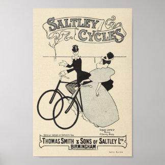 1898 Vintages Fahrrad Saltley fährt Poster