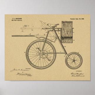 1899 Militär fährt die Patent-Kunst rad, die Druck Poster