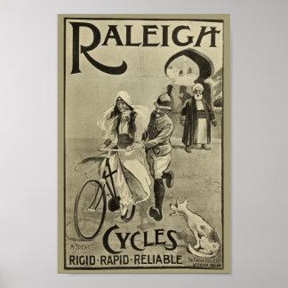 1899 Vintages Fahrrad Raleigh fährt Poster