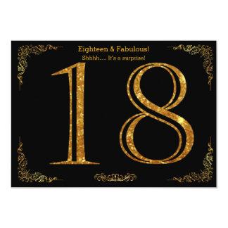 18. Geburtstags-Party, Gatsby styl, schwarzer 12,7 X 17,8 Cm Einladungskarte