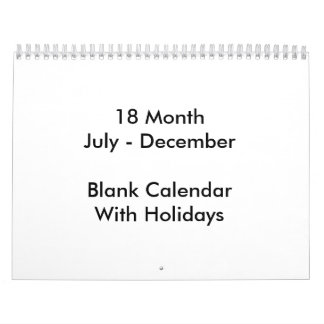 18 Monate leere Kalender-mit Feiertagen Wandkalender