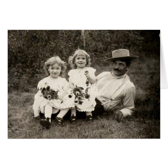 1905 ein Vater und seine Töchter Mitteilungskarte