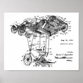1924 fliegendes Fahrrad-Flugzeug-Patent, das Druck Poster