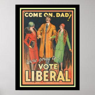 1929 Abstimmungs-liberale politische Anzeige 12 x Poster