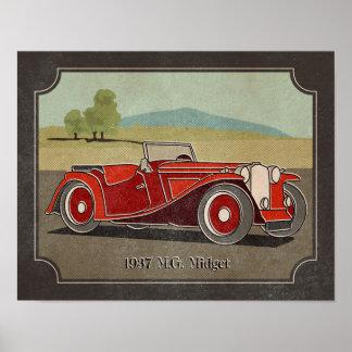 1937 Vintager Zwerg des Rot-M G Poster