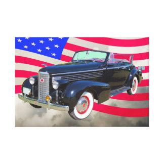 1938 Cadillac Lasalle und amerikanische Flagge Leinwanddruck