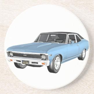 1968 hellblaue Muskel-Autos Sandstein Untersetzer