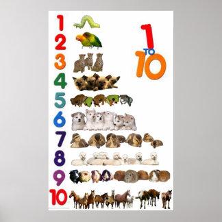1 - 10 Zahl-Plakat Poster