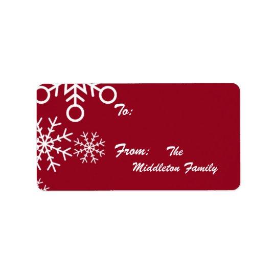 """1,25 roter Schneeflocke-Stock Weihnachten"""" x2.75"""" Adressaufkleber"""