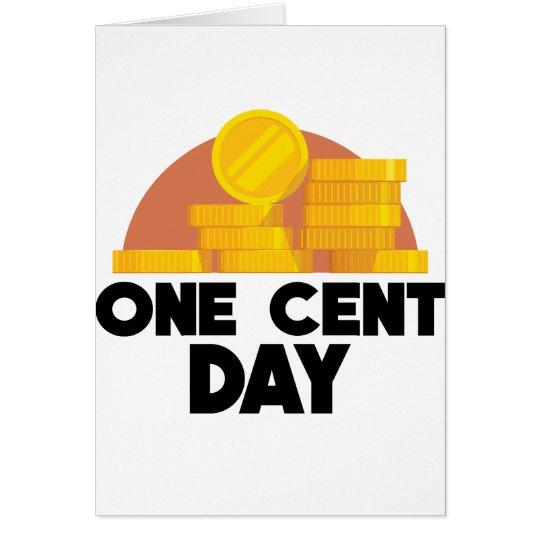 1. April - ein Cent-Tag Grußkarte