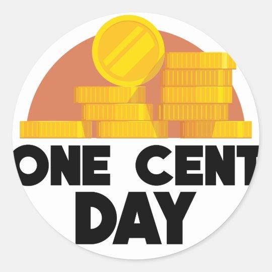 1. April - ein Cent-Tag Runder Aufkleber