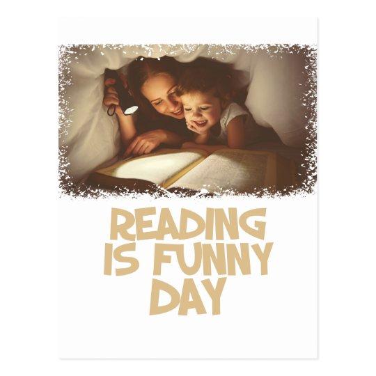 1. April - Lesung ist lustiger Tag Postkarte