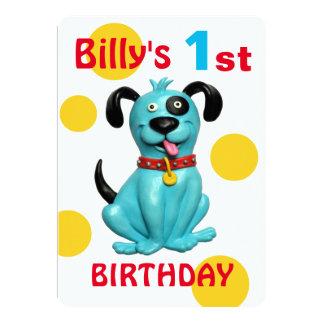 1. der Geburtstags-Party-niedlicher blauer Karte