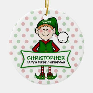 1. Elf Boy1 des Babys des Weihnachten(Redhead) Rundes Keramik Ornament
