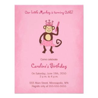 1 Geburtstag Einladung Affe-Prinzessin-