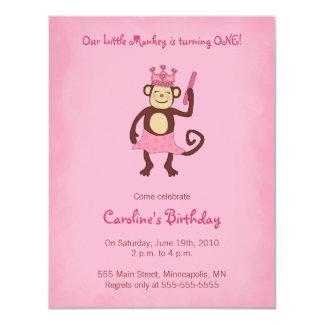 1. Geburtstag Einladung Affe-Prinzessin-