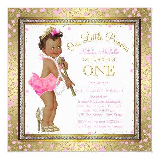 1. Geburtstag Party ethnischer Prinzessin- Quadratische 13,3 Cm Einladungskarte