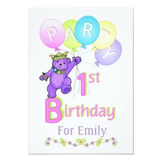 1. Geburtstag Party königlicher Bärn-Prinzessin- 12,7 X 17,8 Cm Einladungskarte