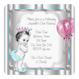 1. Geburtstag Party Prinzessin- Quadratische 13,3 Cm Einladungskarte